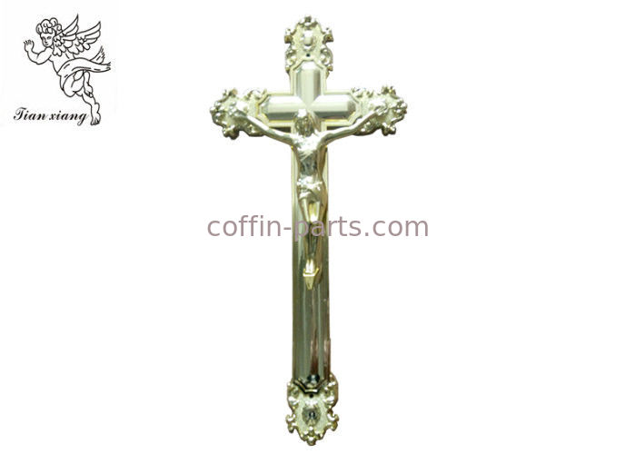 Ornamental Jesus Cross Funeral Crucifix Size 44.8×20.8cm , Golden Plastic Casket Cross